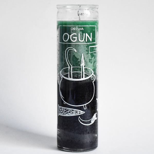 Orisha Ogun Green + Black 7 Day Candle