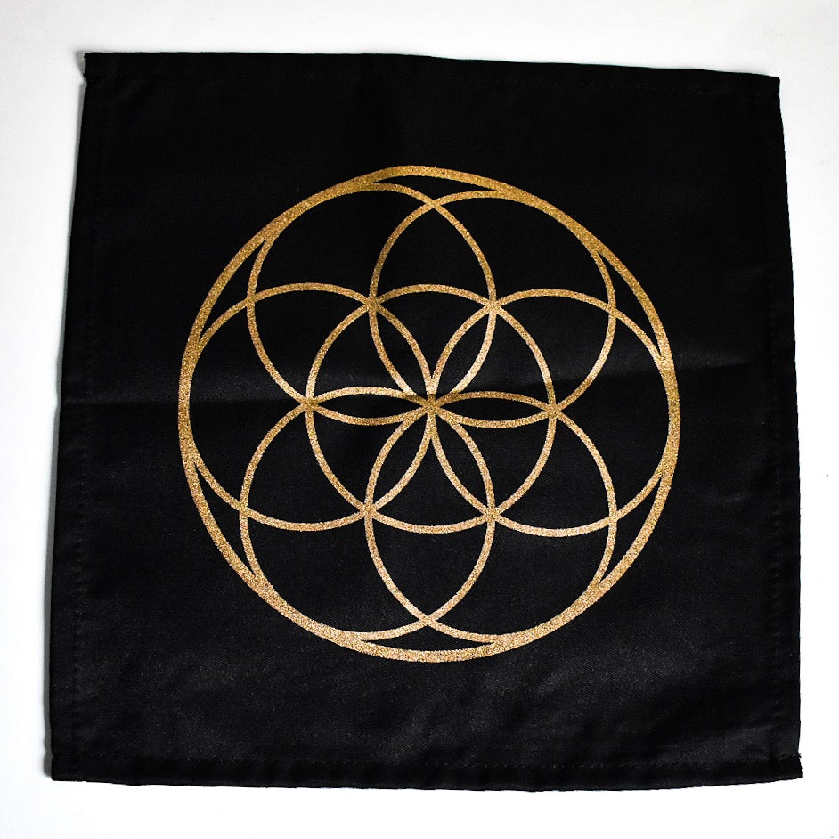 Sacred Geometry Cotton Crystal Grid - Seed of Life