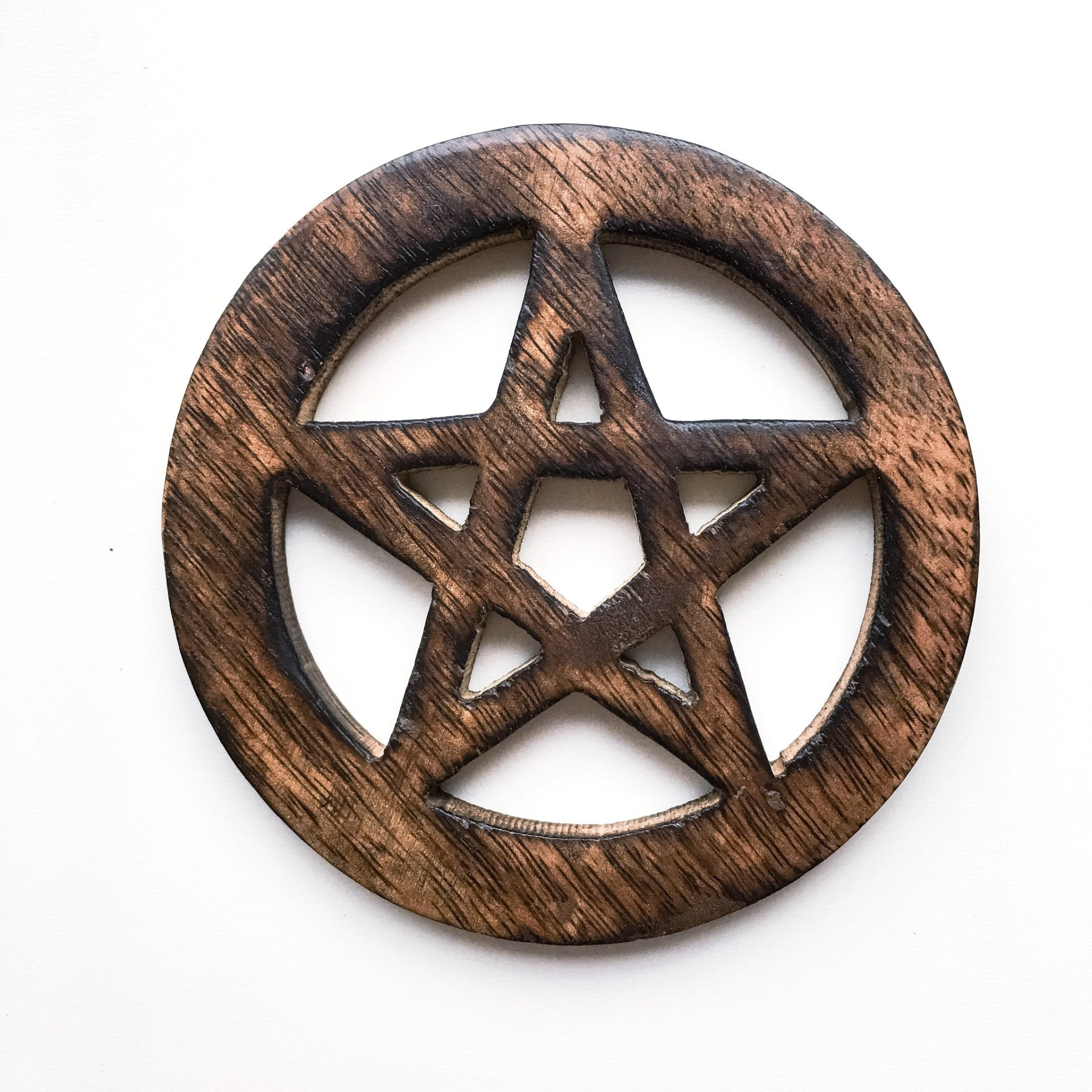 Wooden Pentacle Altar Tile - Hello Violet