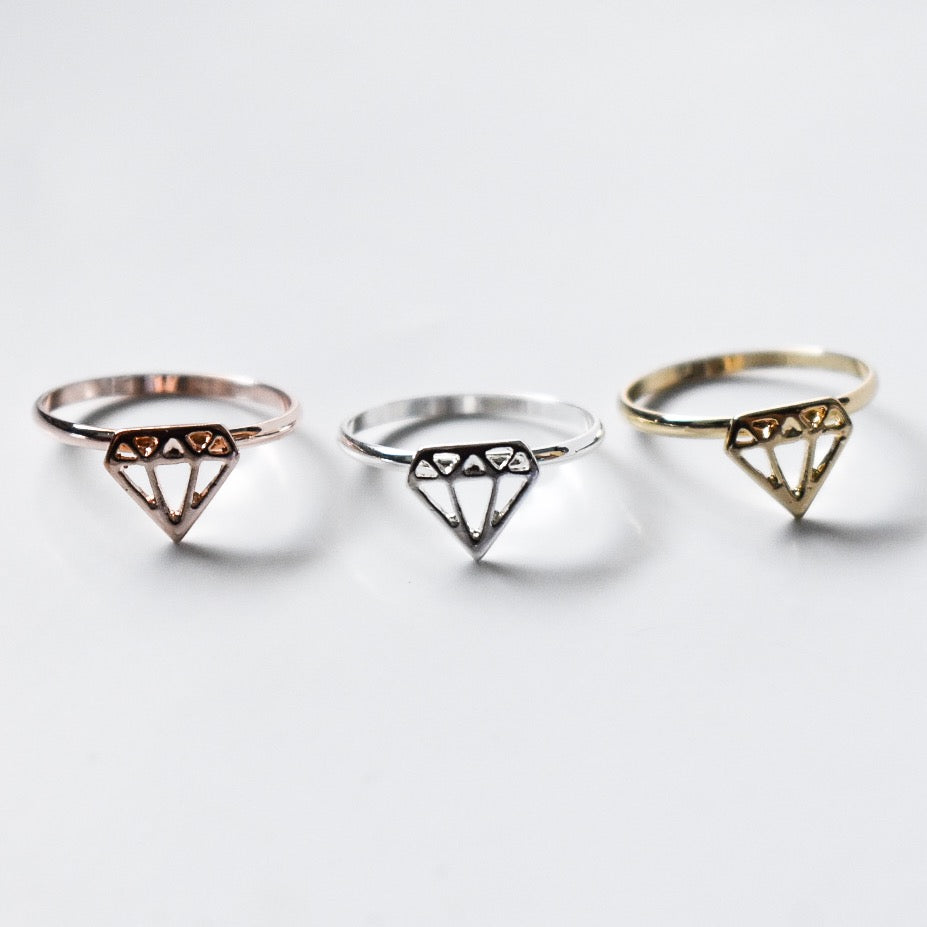 Geometric Diamond Ring - Hello Violet
