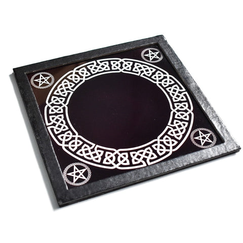 Black Scrying Mirror With Pentacles - Hello Violet