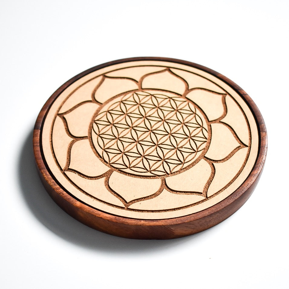 Lotus Flower of Life Wood Crystal Grid - Hello Violet