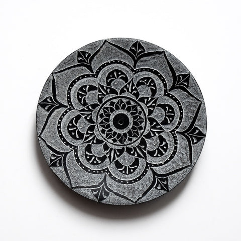Lotus Mandala Black Soapstone Incense Burner - Hello Violet