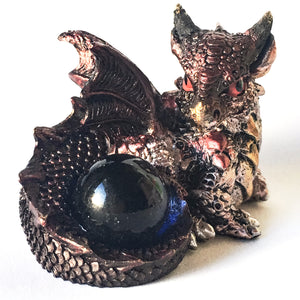 Copper Polyresin Baby Dragon - Hello Violet
