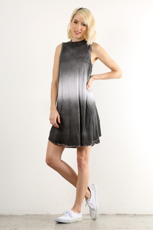 Fade To Gray Mock Neck Dress - Hello Violet