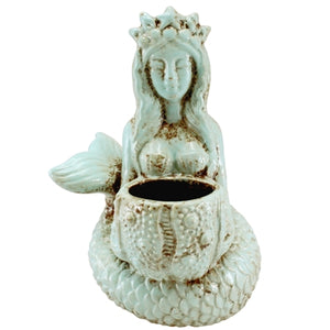 Goddess Mermaid & Sea Urchin Ceramic Cyan Planter