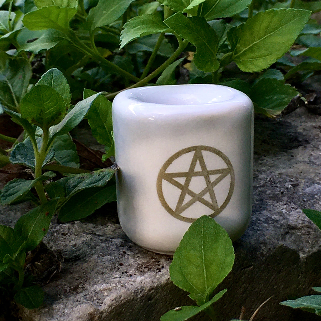 White & Gold Pentacle Chime Candle Holder