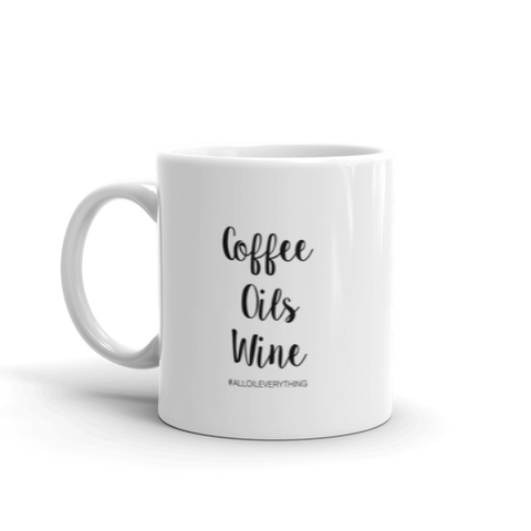 Coffee Oils Wine - White Glass Mug - Coffee Mug, Essential Oil Mug, Wine Mug, Essential Oil Gift
