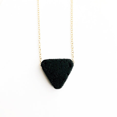 Black Triangle Lava Stone Necklace | Essential Oil Diffuser Jewelry | Aromatherapy