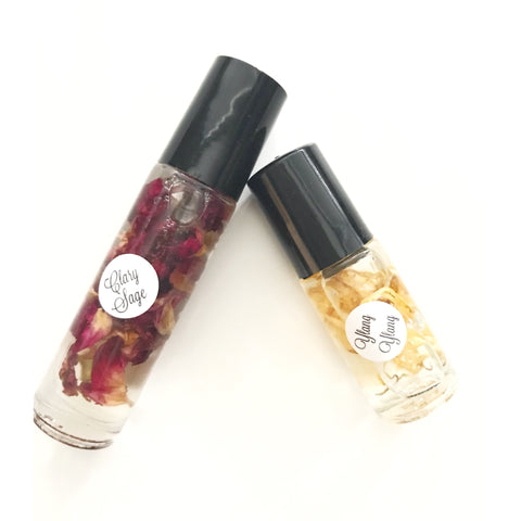 SALE - Essential Oils with Dried Flowers - Roller Bottles | Rose, Lavender, Chamomile, Calendula