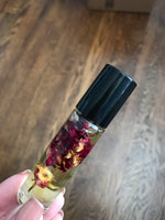 Essential Oils with Dried Flowers - Roller Bottles | Rose, Lavender, Chamomile, Calendula | Glass Roll On Bottle | Easy to Apply | Carrier Oil