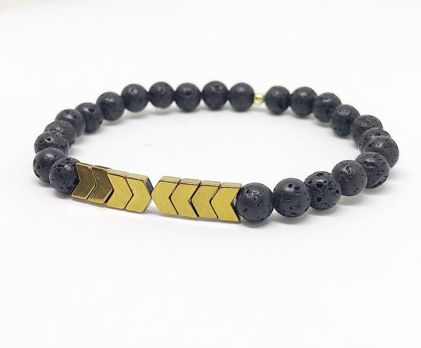 Hematite Chevron Lava Rock Diffuser Bracelet | Diffuser Jewelry | Black and Gold | Harpers Handmade | Oil Bracelet