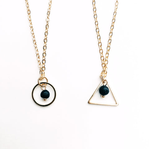 Dainty Circle or Triangle Lava Diffuser Necklace
