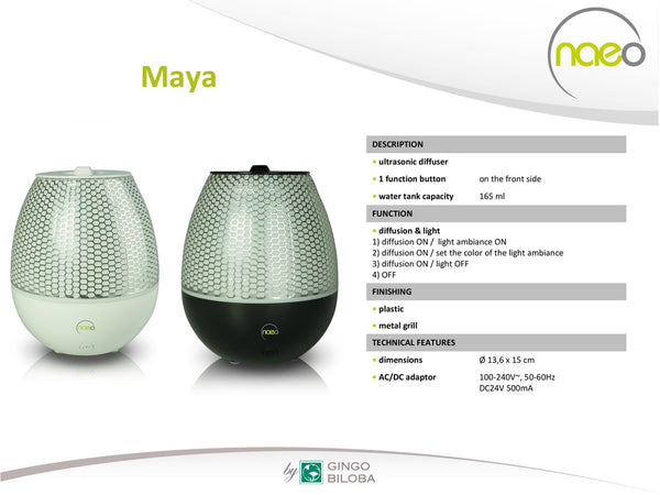 Maya - Modern Ultrasonic Aromatherapy Diffuser - LED changing lights - Silent - Run time 10 hours