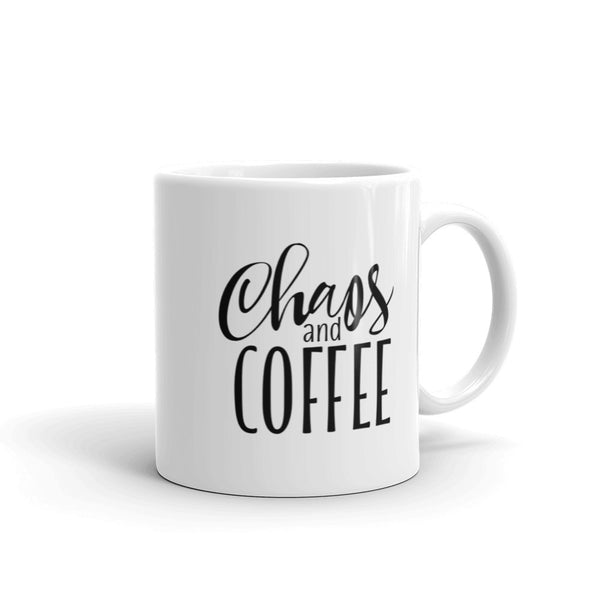Chaos And Coffee - All Oil Everything | White Glass Mug | Coffee Mug | Coffee Addict | Maker | Craft Mug | Maker Life | Coffee Cup | Real Makers Club