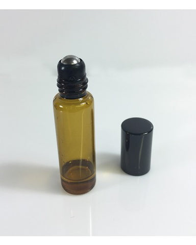 5ml Empty Amber Glass Roller Bottles Metal Roller Ball - Essential Oils, DIY