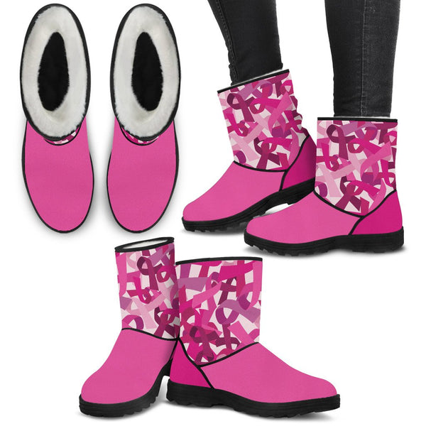 Breast Cancer Awareness Faux Fur Boots - Nvr2Lte2Shop.com