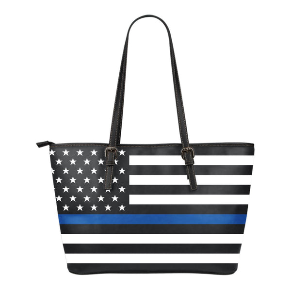 Police Thin Blue Line Small Leather Tote - Nvr2Lte2Shop.com