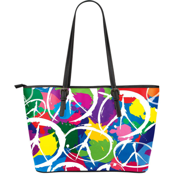 Peace Large Leather Tote Bag - Nvr2Lte2Shop.com