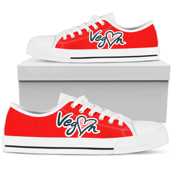Vegan Heart Colored Women's Low Top Shoe - Nvr2Lte2Shop.com