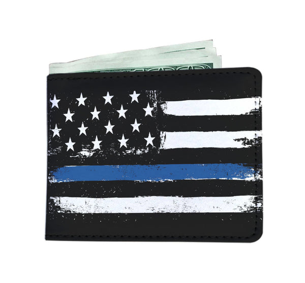 Police Thin Blue Line Flag Mens Wallet - Nvr2Lte2Shop.com