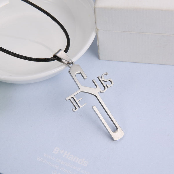 Fashion Necklace Jesus Cross Pendant With Leather Chain - Nvr2Lte2Shop.com