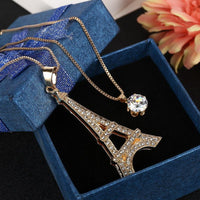 Romantic Paris Eiffel Tower Crystal Pendant Necklace - Nvr2Lte2Shop.com