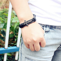 New Christian Cross Men's Leather Bracelet - Nvr2Lte2Shop.com