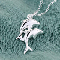 Double Dolphin Silver Pendant Necklace - Nvr2Lte2Shop.com