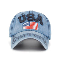 Fashion Embroidered USA Flag Denim Cap - Nvr2Lte2Shop.com
