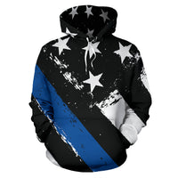 Thin Blue Line All Over Hoodie - Nvr2Lte2Shop.com