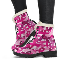 Breast Cancer Awareness Faux Fur Leather Boots - Nvr2Lte2Shop.com