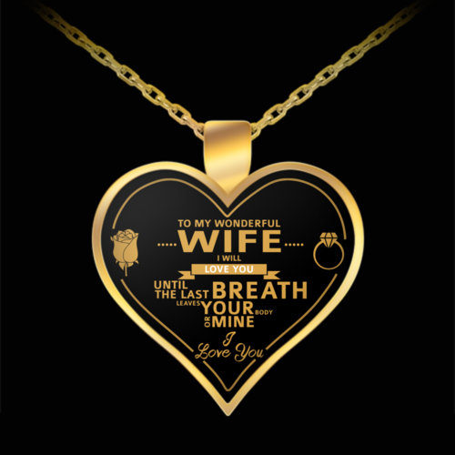 To My Wife Gold Heart Necklace (Free Shipping)