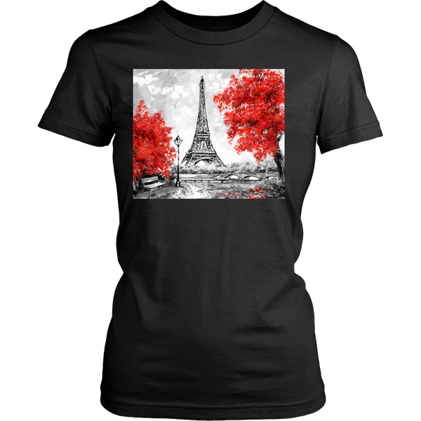 Paris in Red Womens T-Shirt - Nvr2Lte2Shop.com