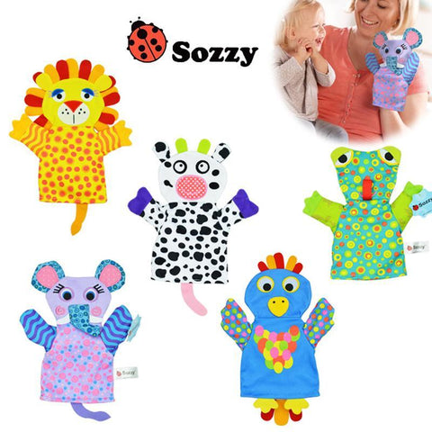 Bright colourful animal hand puppets gifts for children