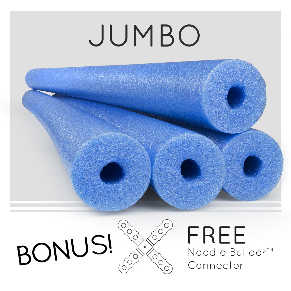 4 Pack Oodles Monster 55 Inch x 3.5 Inch Jumbo Swimming  Pool Noodle Foam Multi-Purpose BLUE - HonorTraders