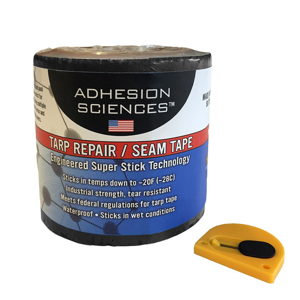 "Adhesion Sciences High Strength Tarp/Seal Repair Patch Water Proof Super Stick Tape 4"" x 50' Tape bonus Cutter Included - HonorTraders"