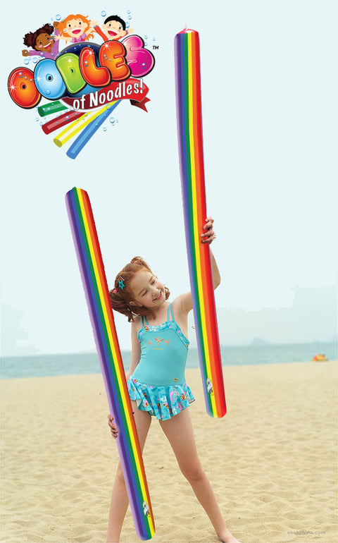 Rainbow  Inflatable Pool Noodle Super Colorful 5 Footer - HonorTraders