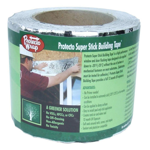 "Protecto Wrap Super Stick Building Tape 4"" x 75' Roll - HonorTraders"