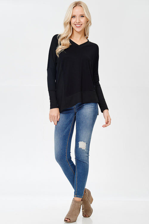 Can You Keep Up Long Black Sleeve Top