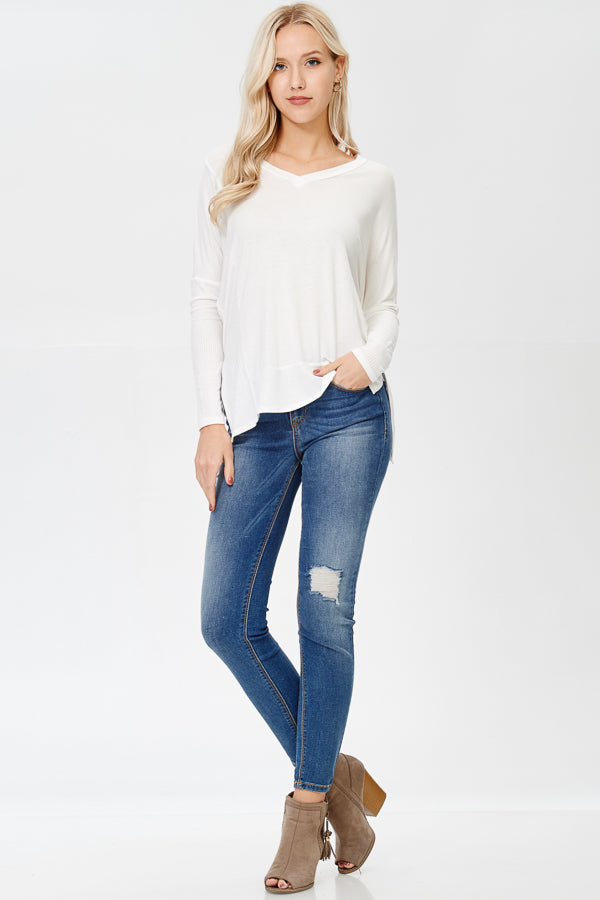 Can You Keep Up Long Ivory Sleeve Top - impromptu boutique