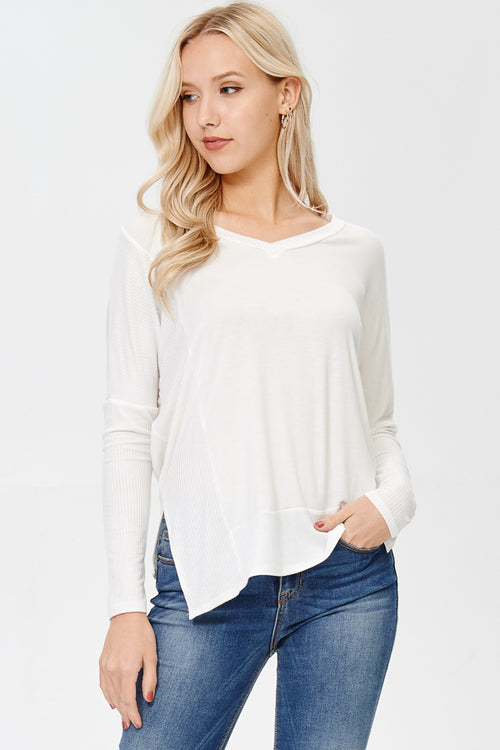 Can You Keep Up Long Ivory Sleeve Top
