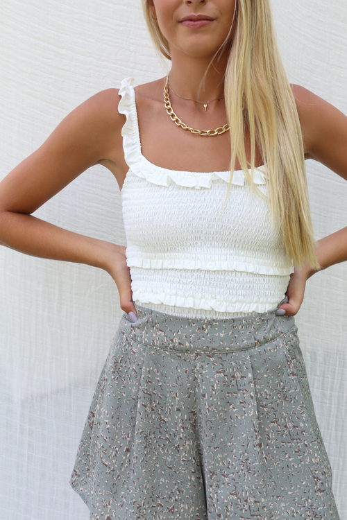 More To You Pleated Sage Shorts