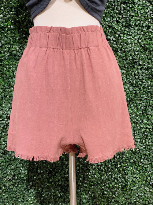 Summer Breeze Mauve Paperbag Shorts - impromptu boutique