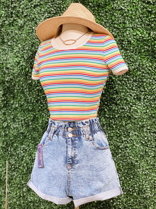 Spread Love Rainbow Crop Ribbed Tee - impromptu boutique