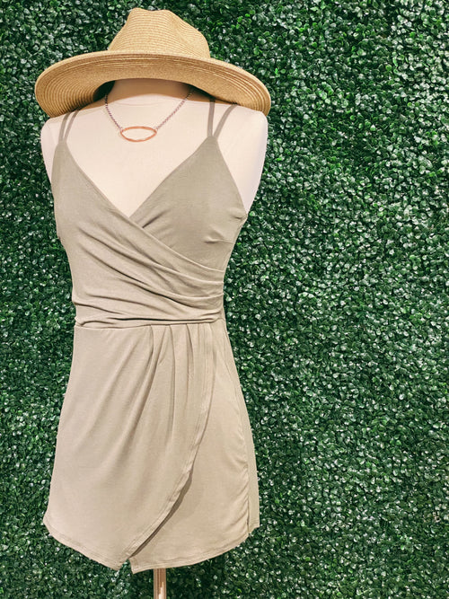 Far Away Asymmetrical Romper: Olive - impromptu boutique