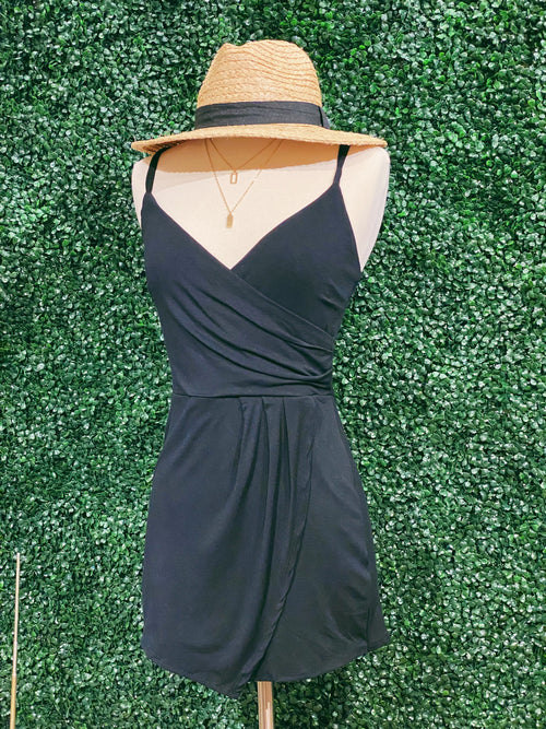 Far Away Asymmetrical Romper: Black - impromptu boutique