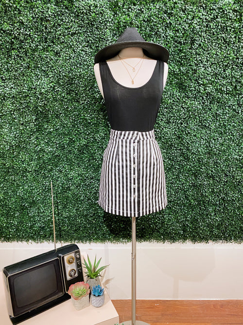 Pursuit Of Style Black & White Mini Skirt - impromptu boutique