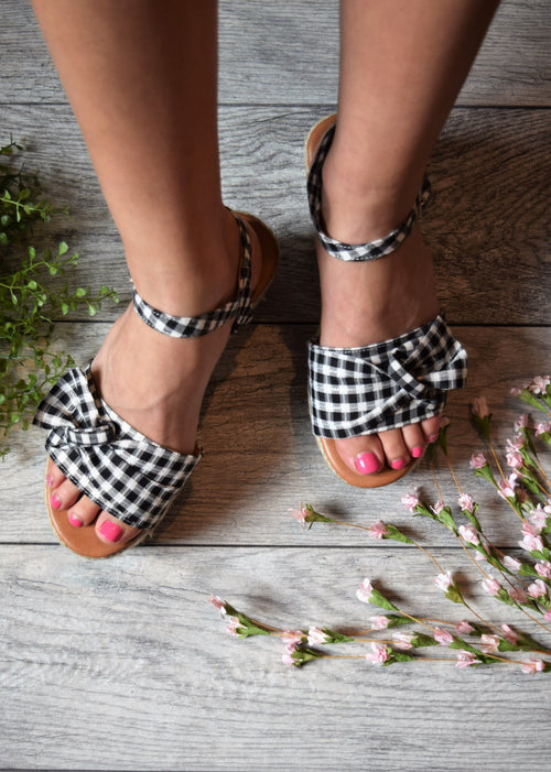 Emma Gingham Wedge Sandals - impromptu boutique
