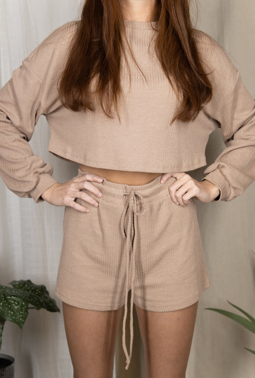 Early Riser Two Piece Lounge Shorts Set: Taupe
